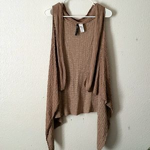 Absolutely Waterfall Front Long Tan Knit Vest SZ M